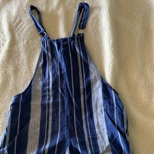 Forever 21 blue striped overalls